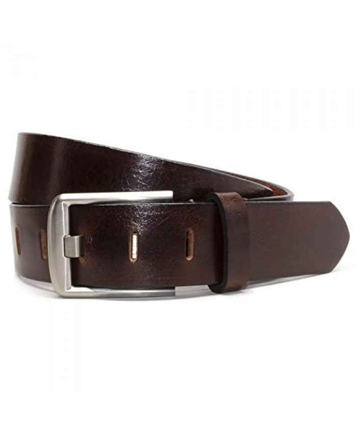 Titanium Wide Pin Belt - USA Made Full Grain Leather Belt with Certified Nickel Free Titanium Buckle
