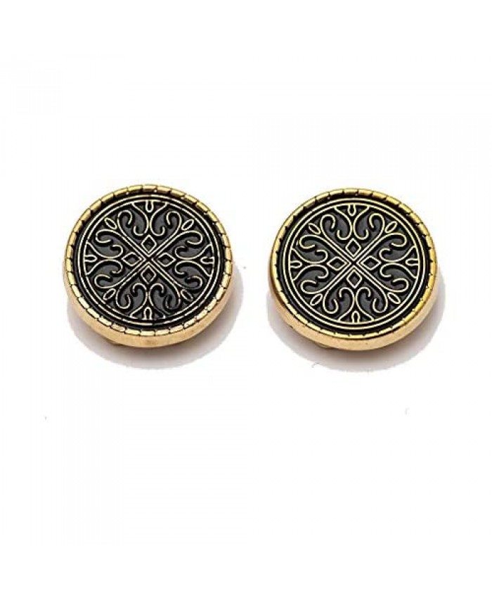 BUTTONCUFF Designer Men's Button Covers - Imitation Cuff Links for Tuxedo Business or Formal Shirts (D-OR-G)