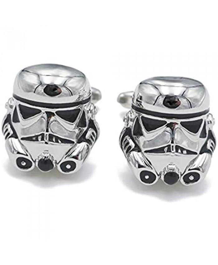 Classic Movie Design Cufflinks Vintage Jewelry Galactic Empire Storm Trooper Spaceship Cuff Button (Trooper)