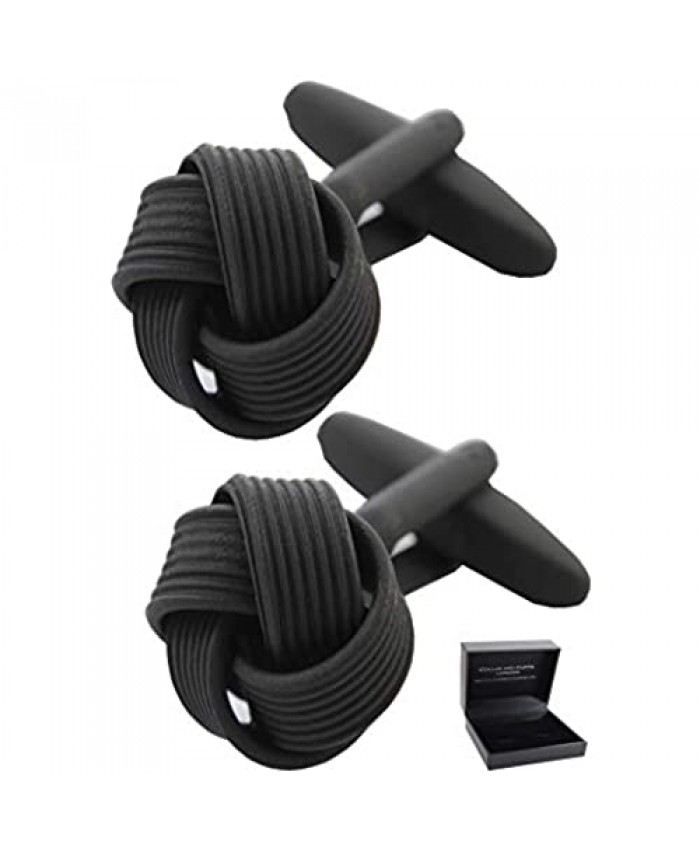 COLLAR AND CUFFS LONDON - Premium Cufflinks with Gift Box - Black Square Knot - Classic Round Design - Black Color