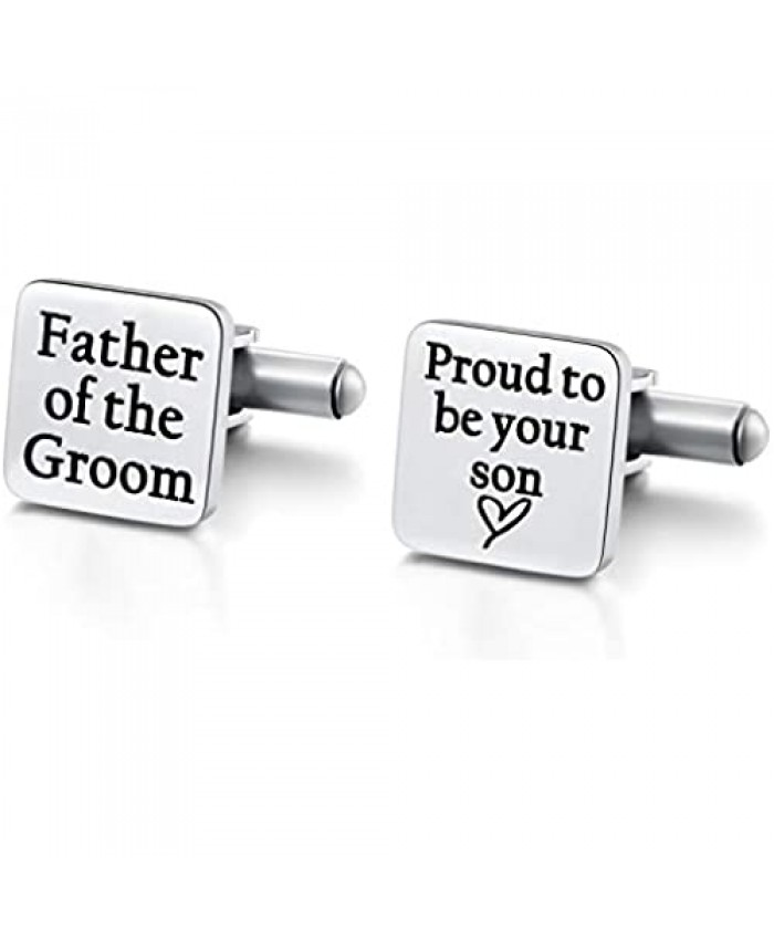 Hazado Father of The Groom Cufflinks Father of The Groom Gift from Son for Wedding Proud to be Your Son Cuff Links