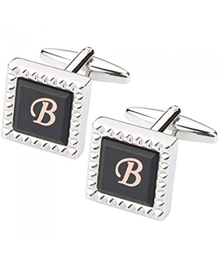 HHGEE XING Mens Cufflinks Classic Shirt Business Wedding Initials Alphabet with Gift Box A-Z