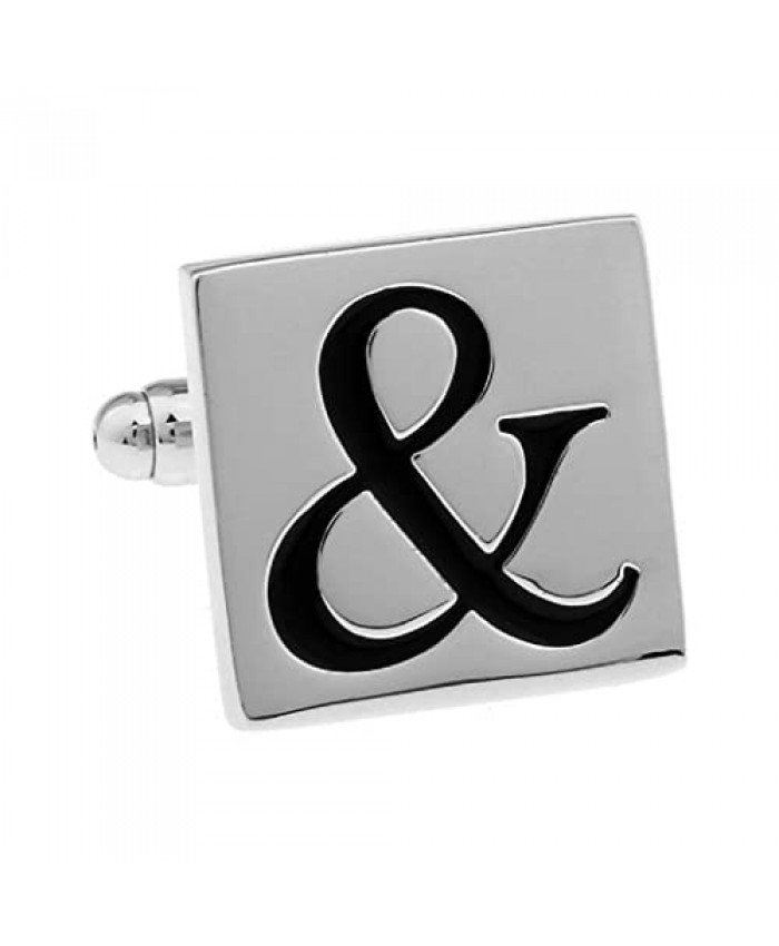 MRCUFF AND Ampersand & Sign Pair Cufflinks in a Presentation Gift Box & Polishing Cloth
