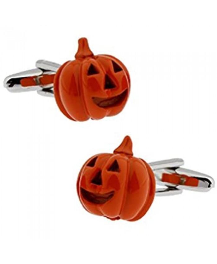 MRCUFF Pumpkin Halloween Jack O Lantern Pair Cufflinks in a Presentation Gift Box & Polishing Cloth