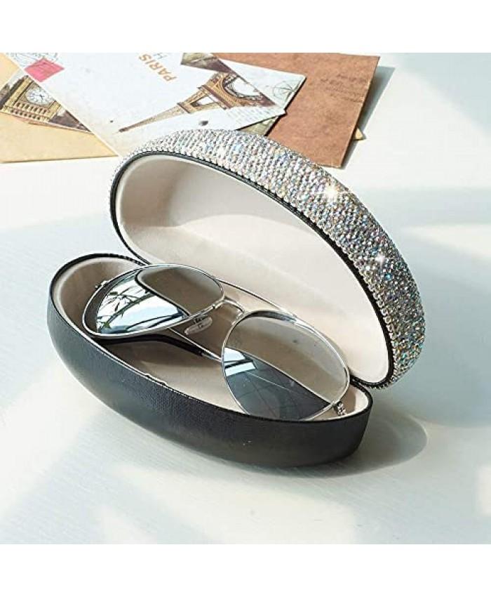 Blueshyhall Shiny Diamond Bling Sunglasses Hard Case Portable for Travel Eyes Glasses Box