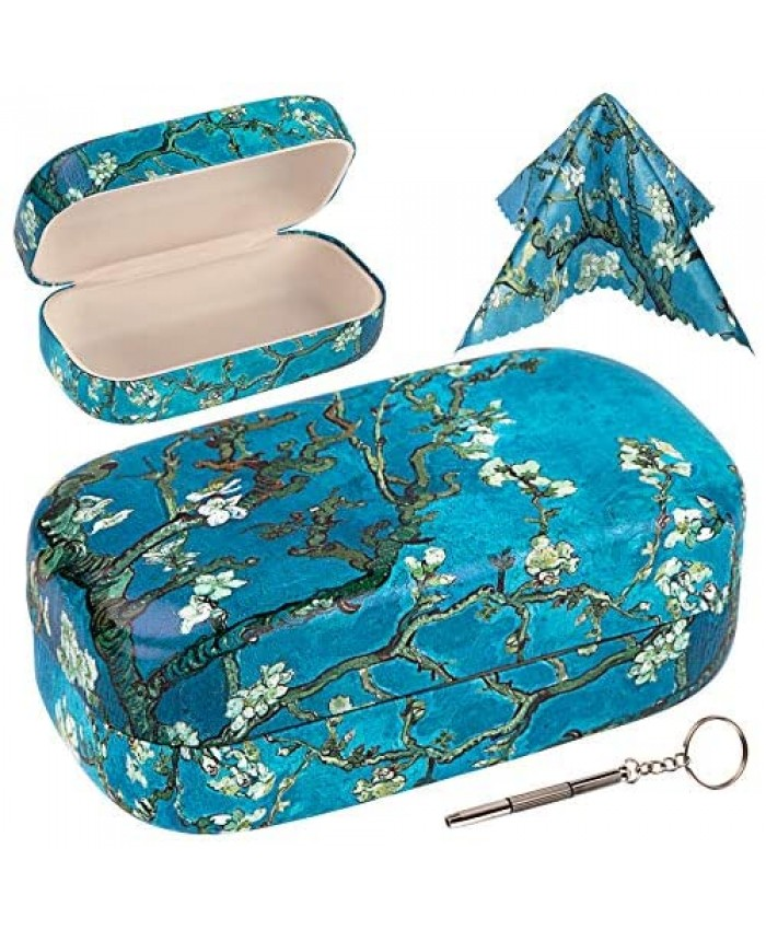 Hard Sunglasses Case Large Eyeglass Cases Medium to Large Frames with Matching Cleaning Cloth & Portable Tool