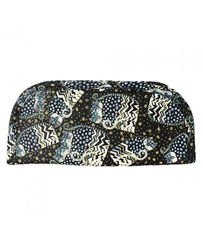 Laurel Burch Black White Polka Dot Wild Cats Quilted Eyeglass Pouch Care Holder