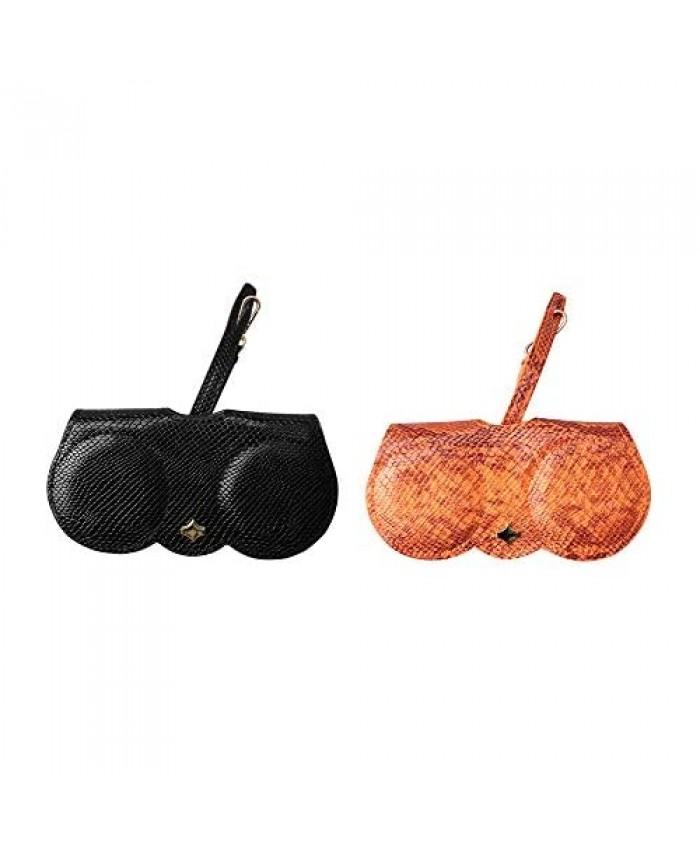 Sopaila 2 Pcs Eyeglasses clip PU Glasses Case Multifunctional Glasses Bag