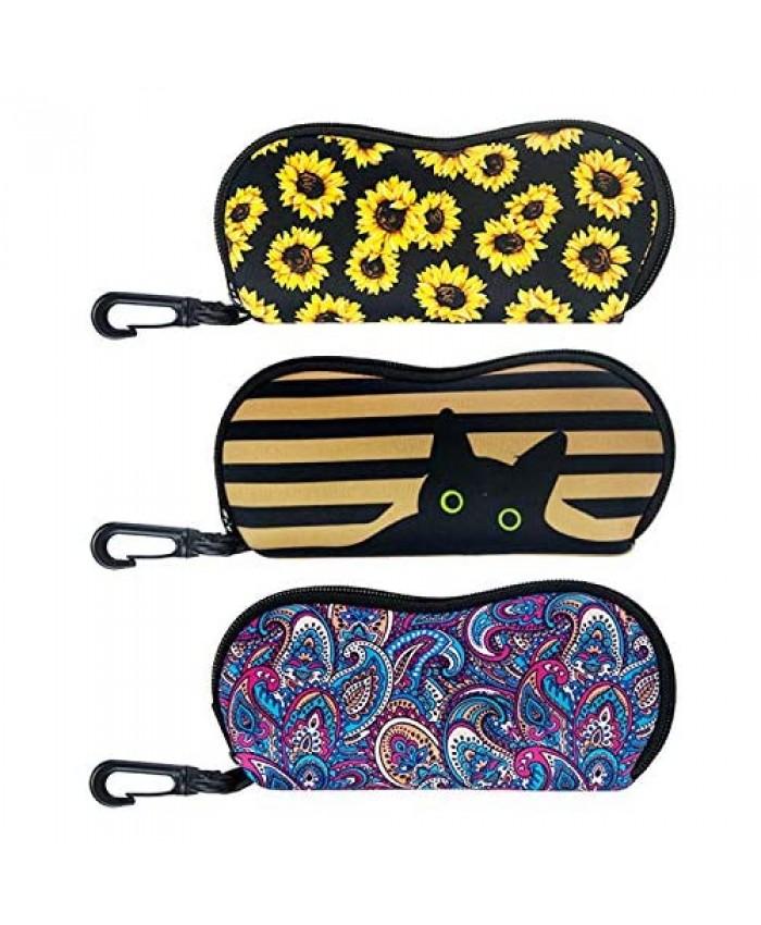 [Upgraded Size] Heyah 3 Pack Sunglasses Soft Case for Women Ultra Lightweight Neoprene Sunflower Glasses Case Pouch Cool Portable Zipper Eyeglass Case with Belt Clip