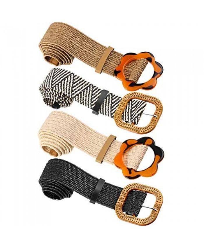 4 Pieces Straw Woven Elastic Stretch Waist Belt Women Skinny Dress Belt Wooden Style Buckle Waist Dress Band for Women Girls Decoration Favors