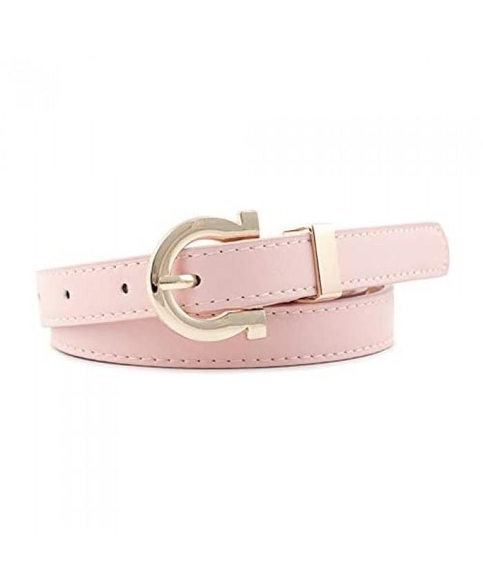 AYA Women's Leather Dress/Jeans Belt   Skinny (3/4in) Gold D-Ring Fashion Belt