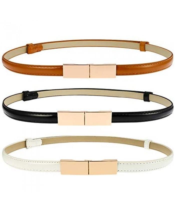 BKpearl 3 pcs Skinny Waist Belt Women Adjustable Skinny Leather Dress Belt Waistband With Gold Alloy Buckle