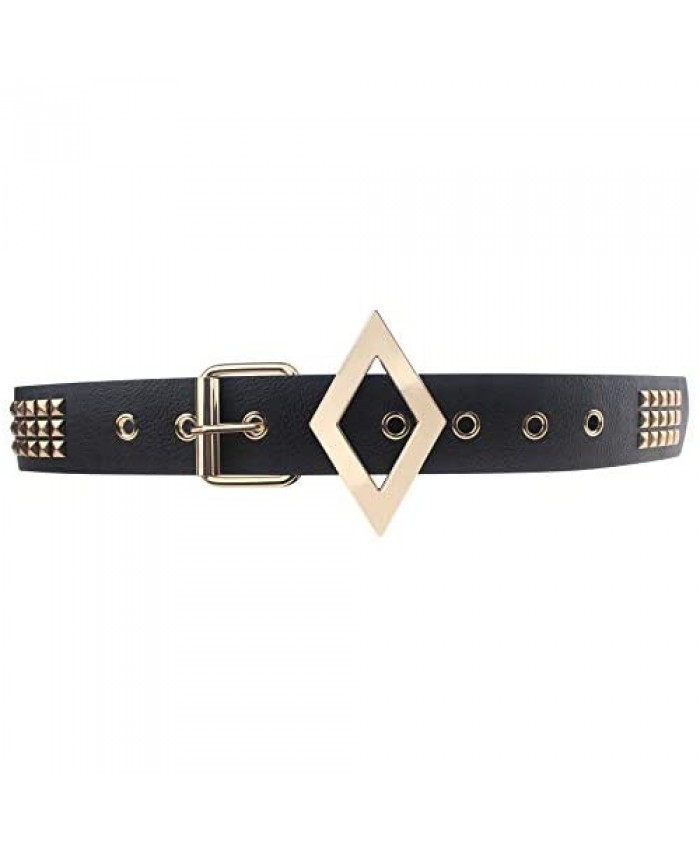Coolcoco Black Leather Gold Studded Belt with Metal Buckle for Women Girls Cosplay Accessory Outfit