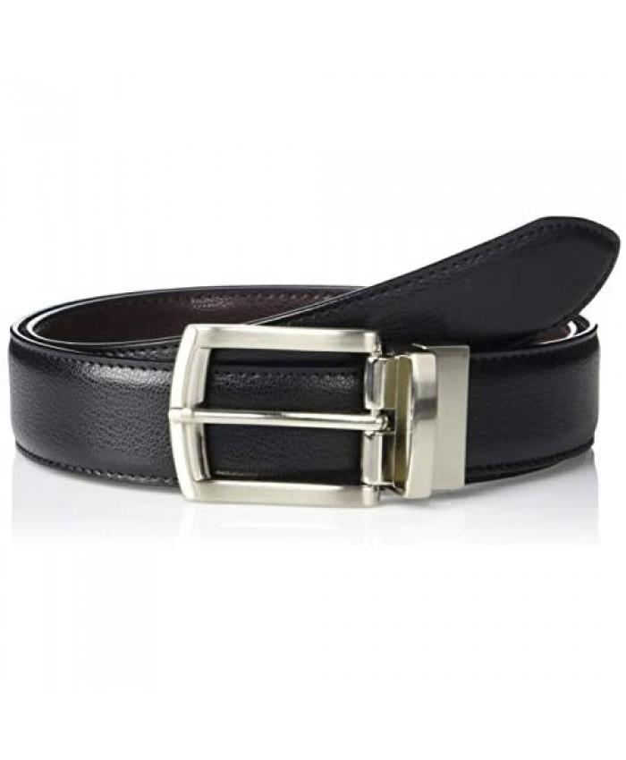 Florsheim Black/Brown Leather 35-Millimeter Reversible Single-Stitch-Edge Belt