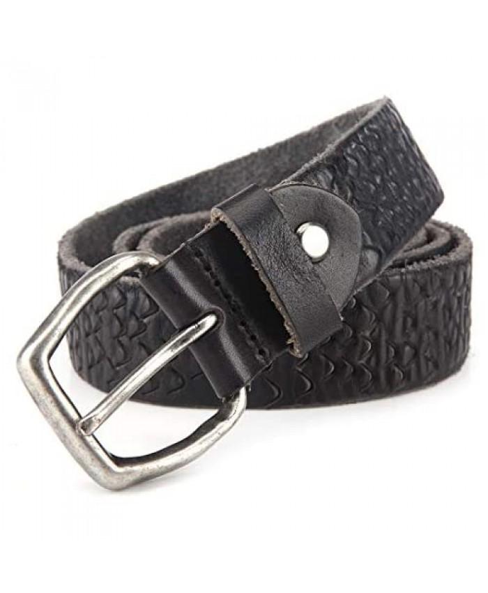 Genuine Leather Belt Black for Women/Men Washed and Vintage 1 3/8