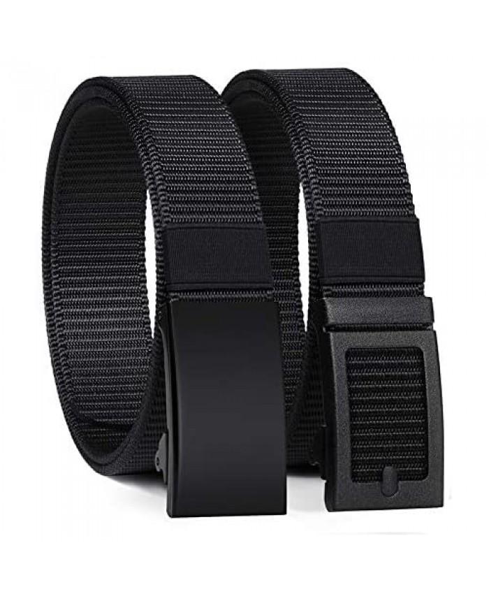 ITIEZY Men's Nylon Ratchet Belt Adjustable Web Military Tactical Belt with Automatic Slide Buckle Trim to Fit