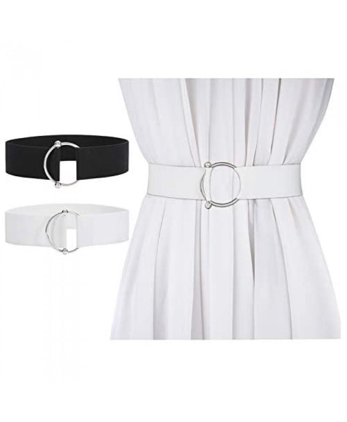 JASGOOD Women Stretchy Wide Waist Belt O Ring Buckle Elastic Waist belt for Dress