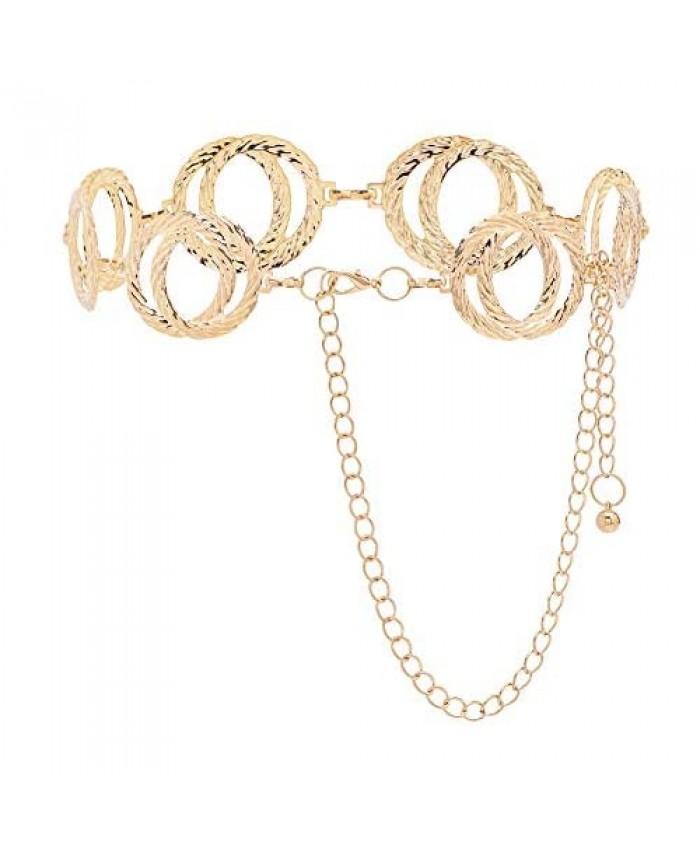 Tanpie Women Metal Waist Chain Belt Gold Body Link Belts for Dress