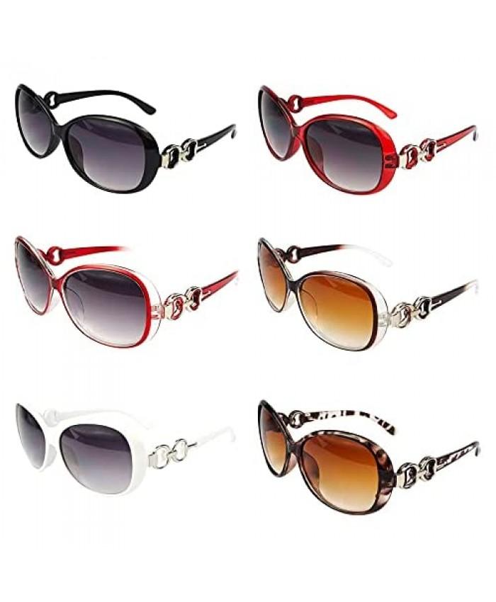 6 Pack Vintage Oversized Sunglasses for Women in Bulk Plastic Large Sunglasses Set UV Protection