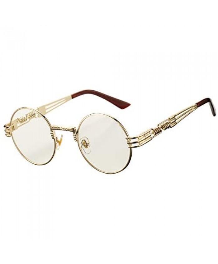 DeBuff Retro Round Steampunk Sunglasses John Lennon Hippie Glasses