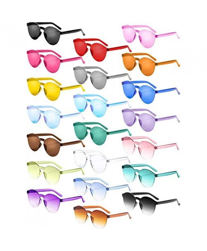 Gejoy 21 Pieces Round Rimless Sunglasses One Piece Transparent Candy Color Tinted Eyewear Multicoloured Medium