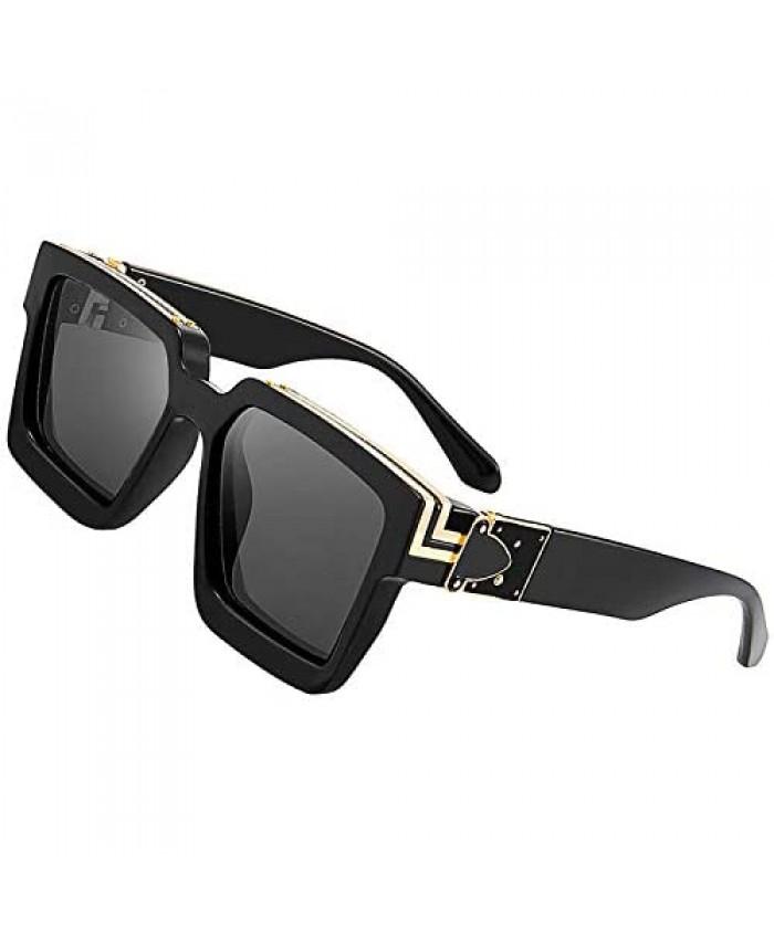 Oversized Square Sunglasses Hip hop black retro millionaire sunglasses for Men Women Metal UV400 Protection