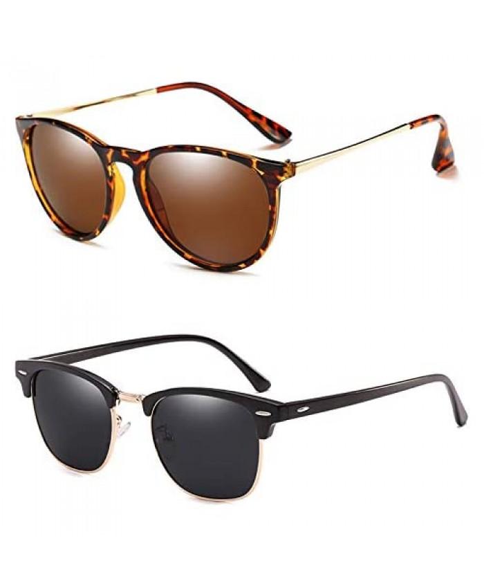 Round Polarized Sunglasses for Women Men Retro Womens Sunglasses Uv Protection