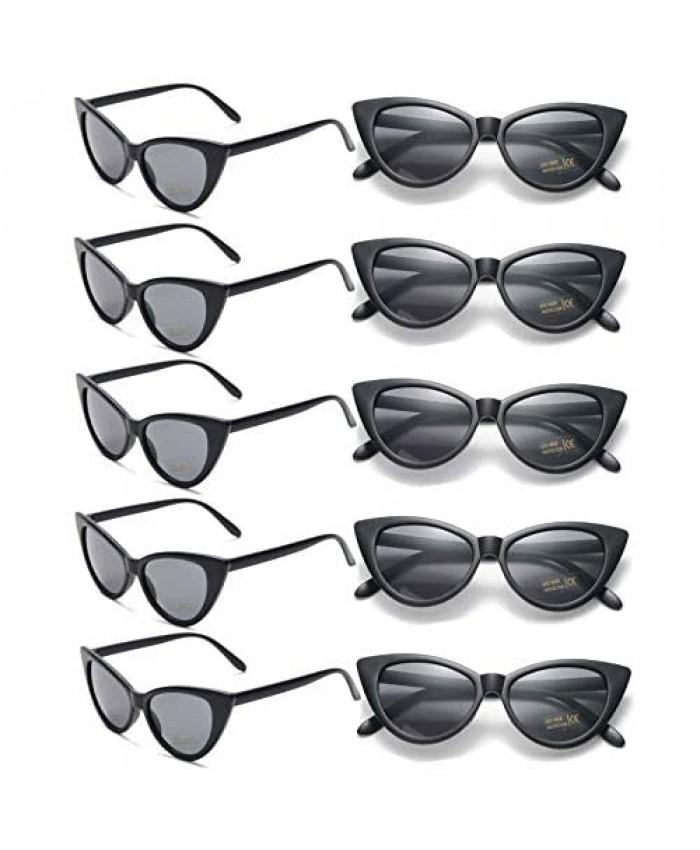 Womens Cat Eye Sunglasses Bulk Party Favors Glasses Retro Vintage Clout Goggles Plastic Frame 10 Pack