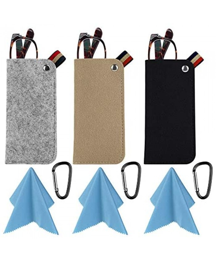 3 Pack Eyeglass Cases - Soft Felt Slip-in Pouch Case - With Hook & Cleaning Cloth