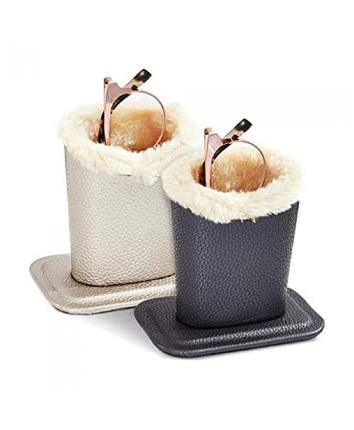 Eyeglass Holder Stand With Soft Plush Lined Protective Glasses Case For Desks Or Nightstands Silver and Black