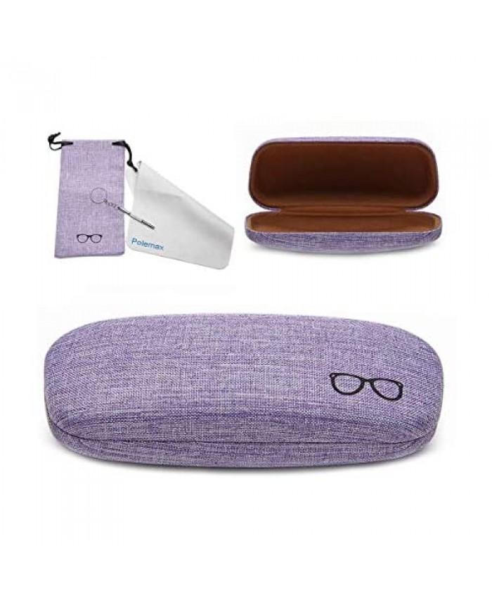 Hard Eyeglass Sunglasses Case Polemax Linen Fabric Glasses Protective Case for Medium Eyeglasses Frame Sunglasses
