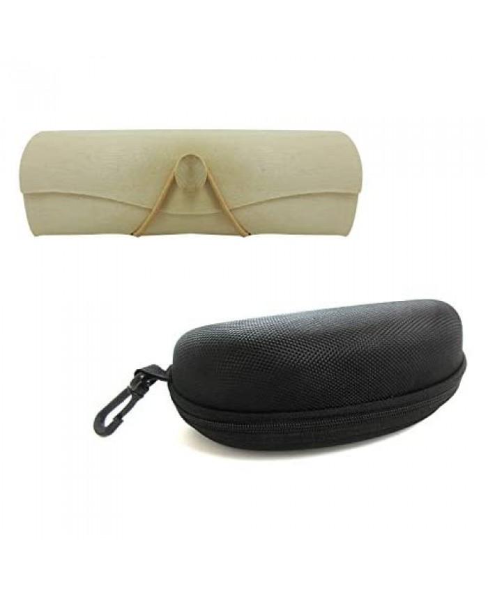 Hard Shell 1 Wood Eyeglasses Case and 1 Portable Travel Zipper Eyeglasses Case for Storage Protective