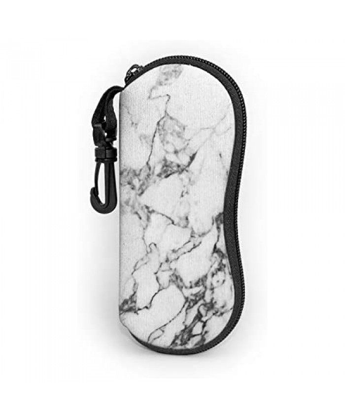 Marble Texture Eyeglasses Soft Case Detailed Structure Of Natural Marble Pattern Design Sunglasses Case Soft Neoprene Eyewear Bag With Zippr Hook