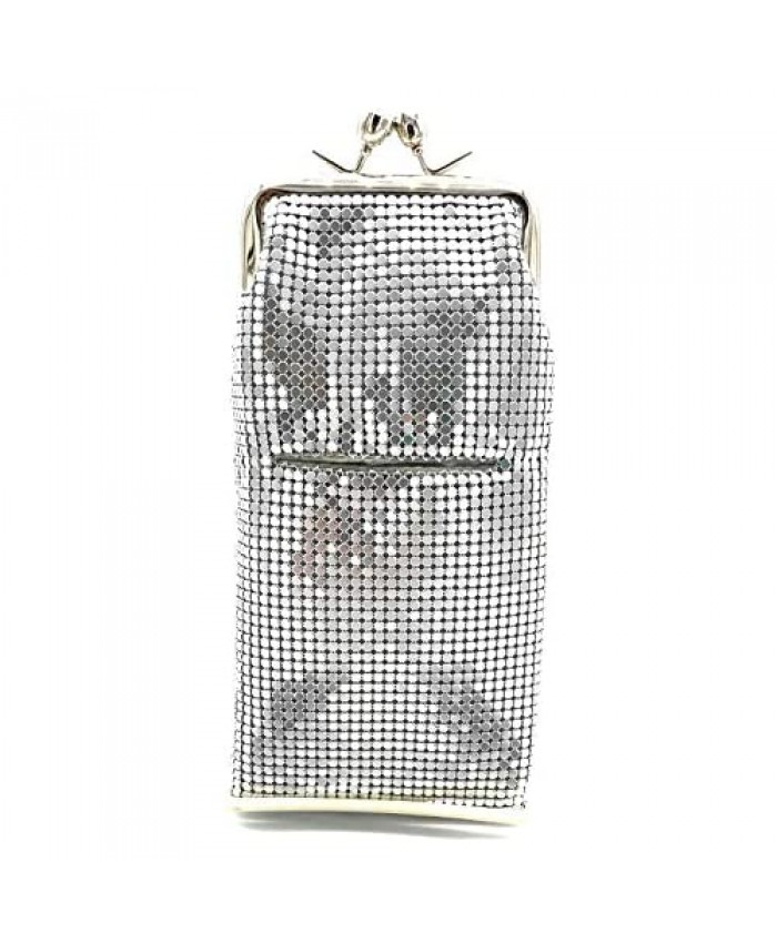 Women's Metal Mesh Cigarette Case OR Eyeglass Case with Crystal Stones Kiss Lock Closure…