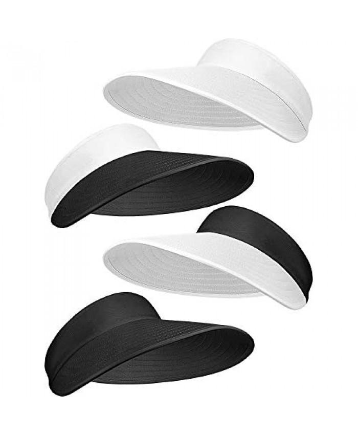 4 Pieces Women Sun Visor Hats Wide Brim Visor Hats Adjustable Large Brim Summer Golf Beach Caps Black and White