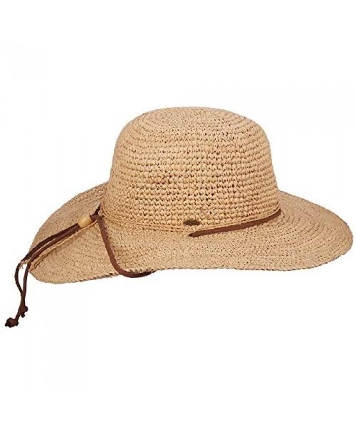 Scala Women's Big Brim Raffia Hat with Leather Chin Cord