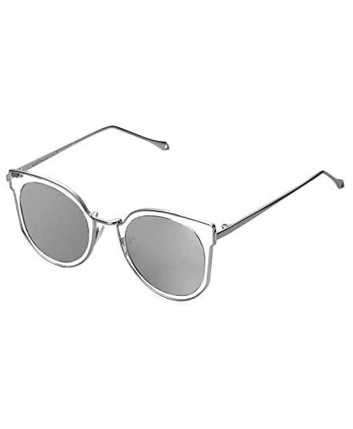 Cyxus Cateye Sunglasses for Women Polarized UV Protection Retro Round Shades