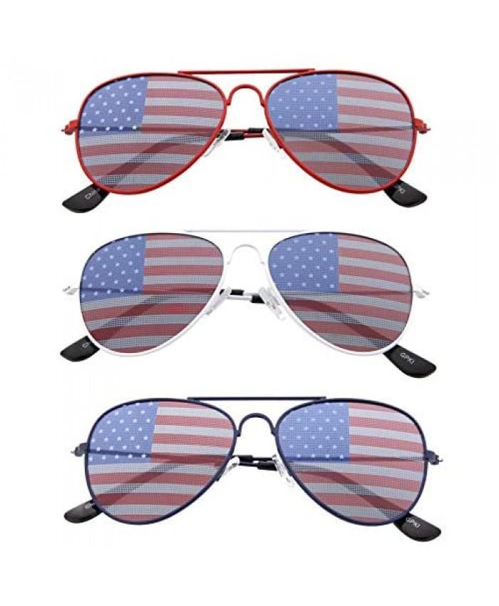 grinderPUNCH KIDS Children's American Flag Aviator Sunglasses