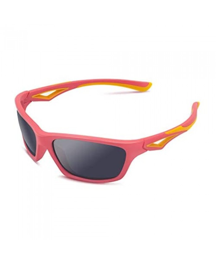 Kids Sunglasses TPEE Unbreakable Polarized Sports Glasses with Adjustable Strap For Boys Girls Age 3-7