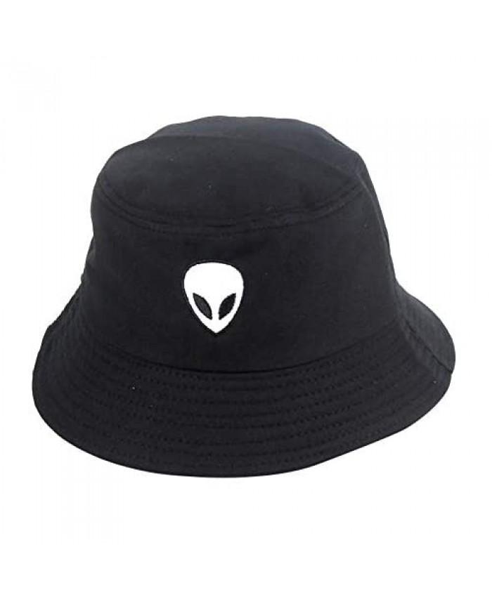 Bestag Unisex Embroidered Alien Bucket Hat Panama Cap Sun Prevent Hats