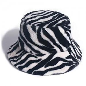 Bucket Hat for Women Men Animal Print Foldable Plush Winter Fisherman Hat