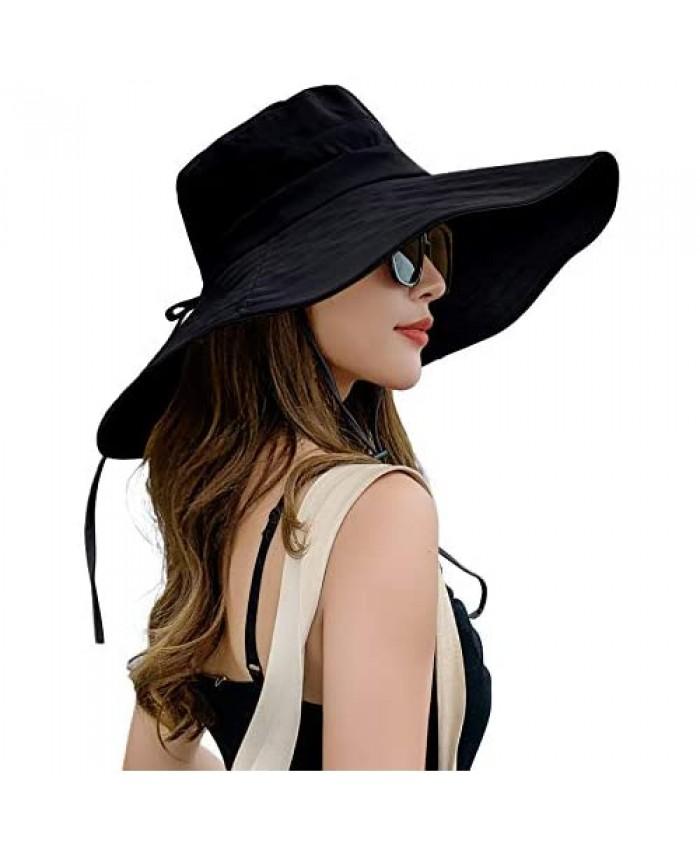 E.Joy Online Women's Wide Brim Bucket Hat Packable Linen/Cotton Cloche Hat