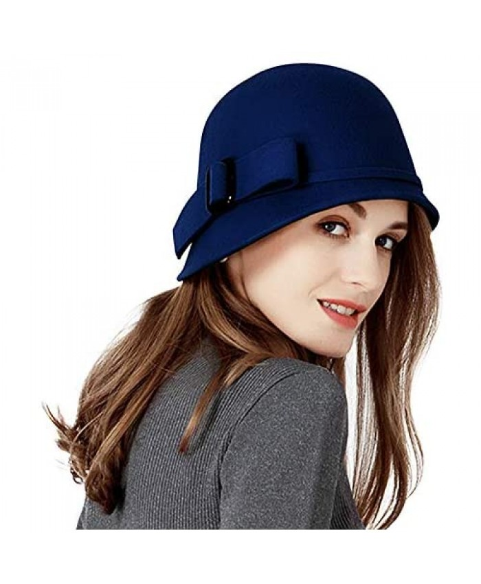 F FADVES Women Solid Color 100% Wool Winter Hat Women Cloche Bucket Bowler with Bowknot
