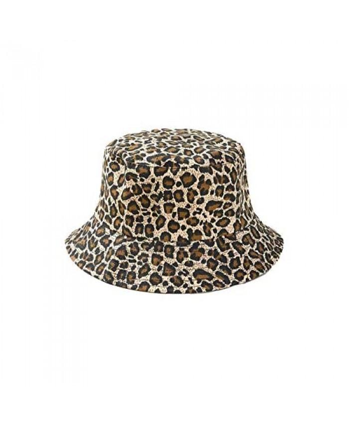 Floerns Women's Reversible Leopard Print Unisex Summer Bucket Hat