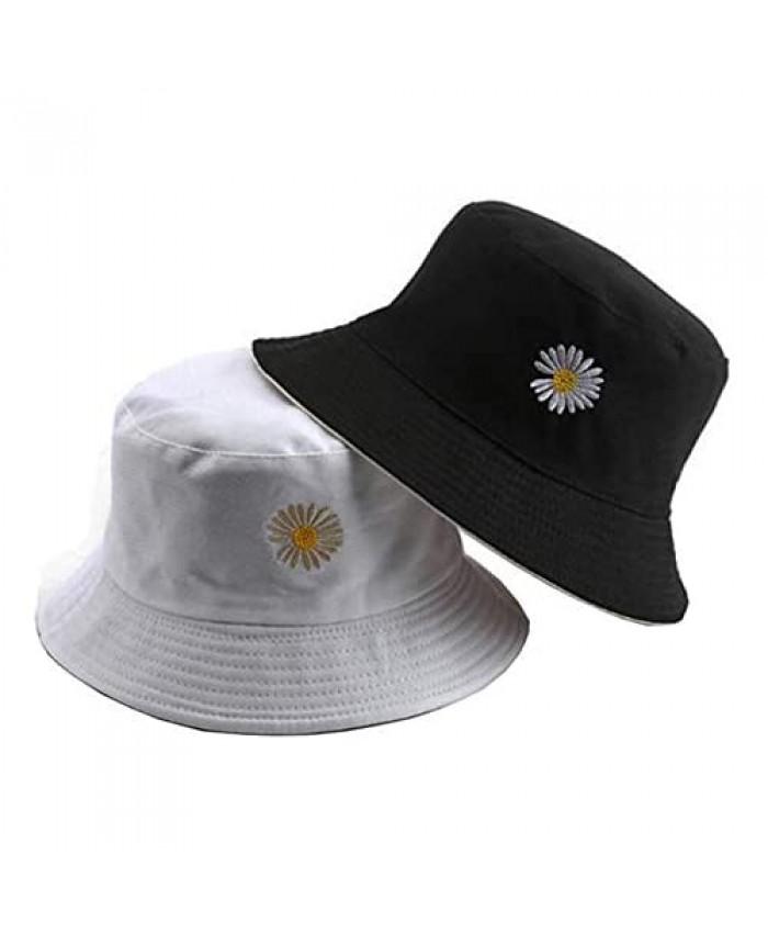 Flower Embroidery Bucket-Hat Summer Travel Bucket Beach Sun-Hat Reversible Vistor Outdoor Cap