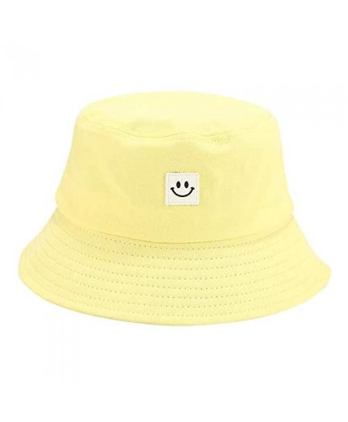 IUAQDP Smiling Face Bucket Hats Foldable Beach Sun Hats Unisex Reversible Packable Bucket Cap Yellow
