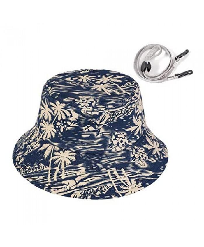 REDNITY 100% Cotton Bucket Hat with Strings Trendy Pattern Printed Summer Hat for Women Men