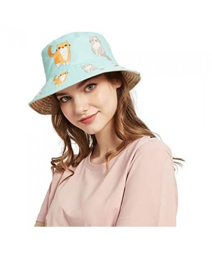 SENERTAI Adult Reversible Packable Bucket Hat for Women Teens Summer Beach Sun Bucket Hat