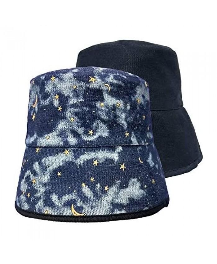 SINLOOG Cotton Bucket Hat Star Sky Print Reversible Sun Hat Packable Fisherman Cap
