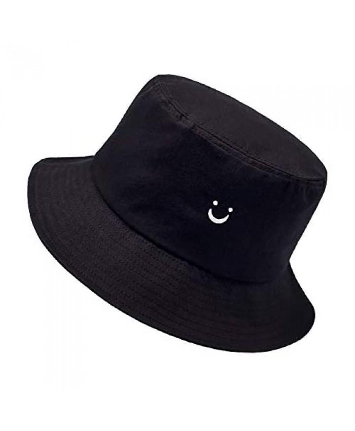 Smile Face Bucket Sun Hat for Women Summer Fisherman Hat for Travel Hat Black